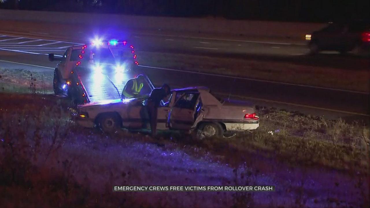 1 In Custody, 2 Taken To Hospital Following Rollover Crash On I-44