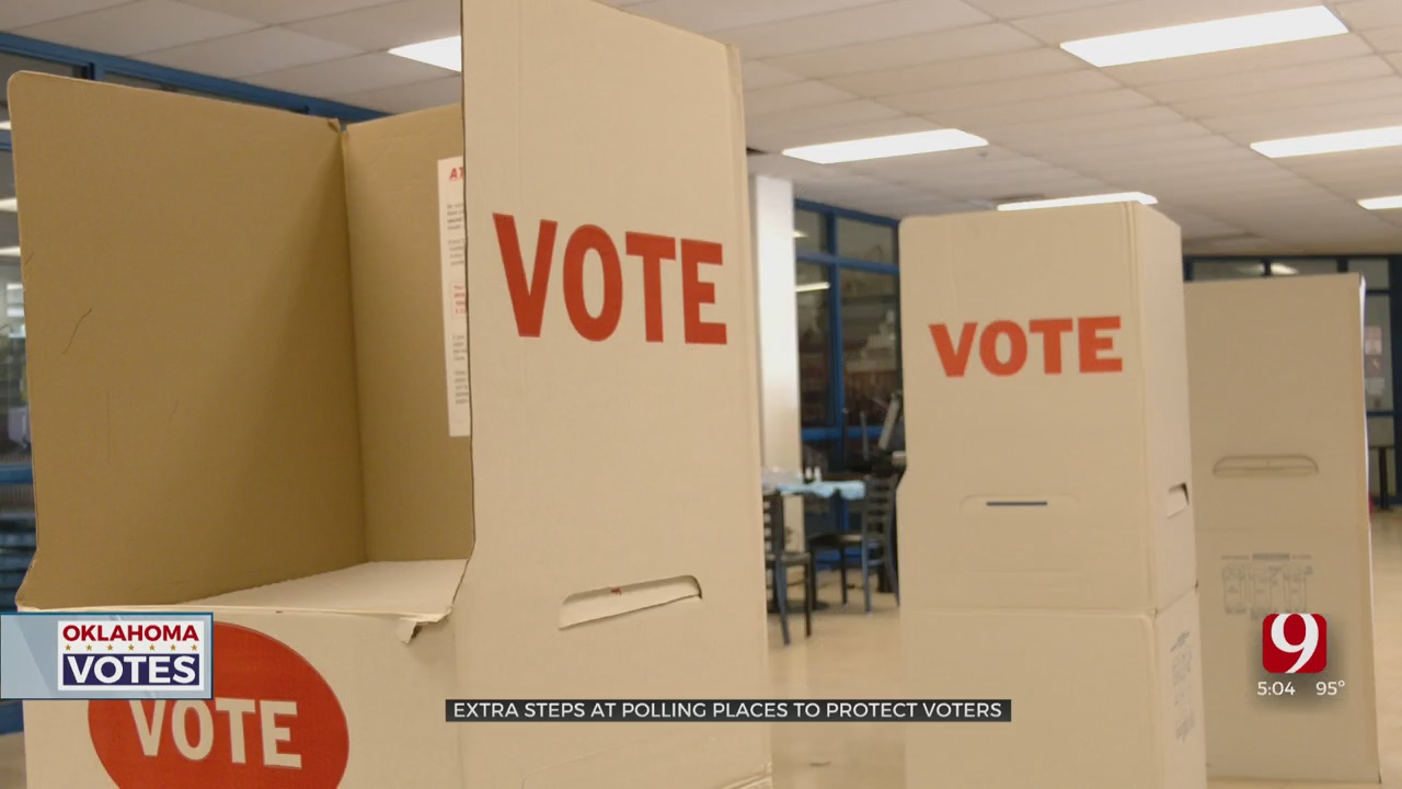Polling Places Practice Extra Precautions During Coronavirus Pandemic As Oklahomans Vote In Primary Elections