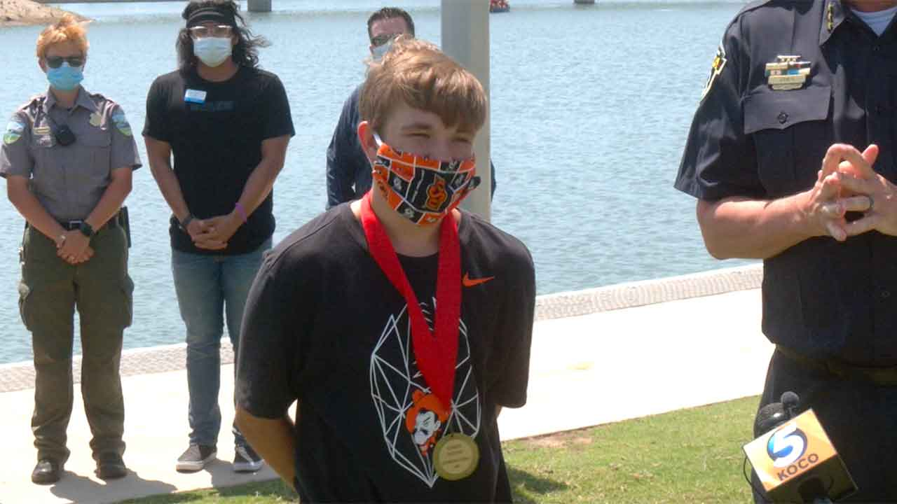 Teen Receives Award For Saving Toddler From Drowning At Scissortail Park Pond