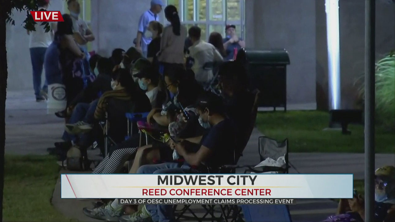 Oklahomans Line Up Outside MWC Reed Center As Week 2 Of Unemployment Assistance Begins
