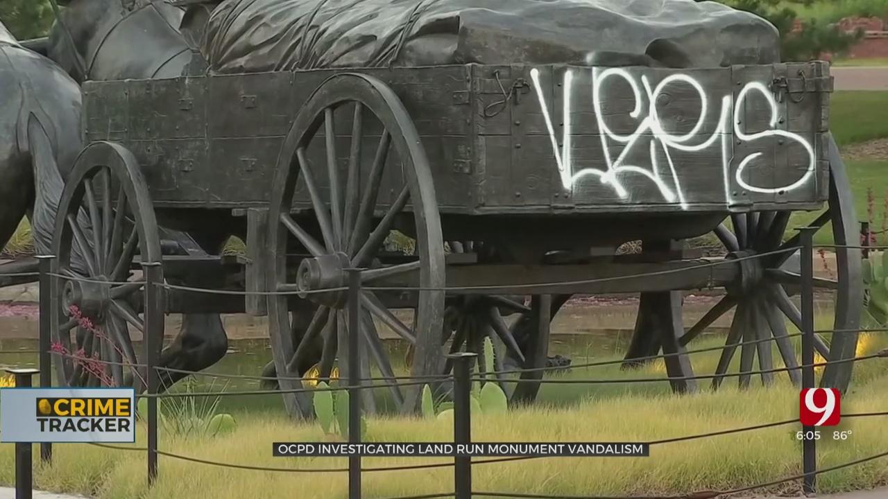 Police Graffiti Unit Investigating Vandalism To OKC's Land Run Monument
