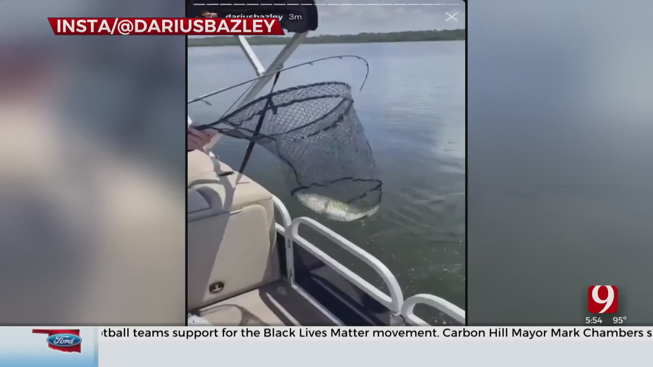 Thunder's Darius Bazley Reels In A Fish In Orlando