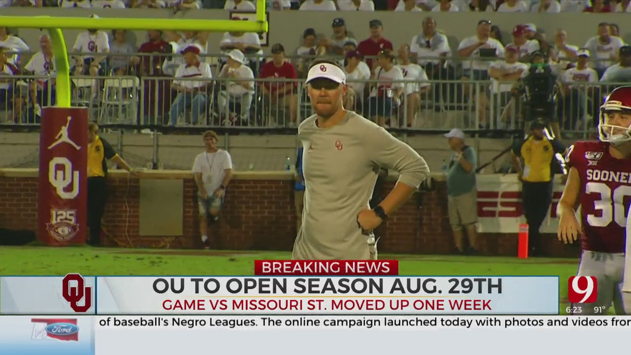 OU Football Moves Its Season Opener A Week Earlier Than Expected