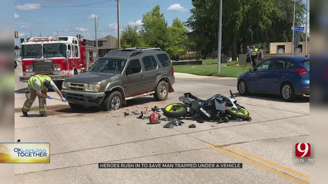 Good Samaritans Lift SUV Off Trapped Motorcyclist Following Moore Crash