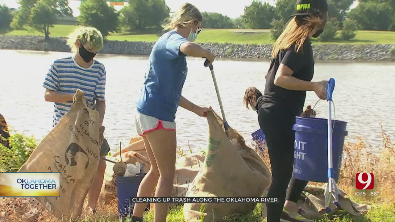 Group Of Volunteers Come Together To Clean Up Oklahoma River