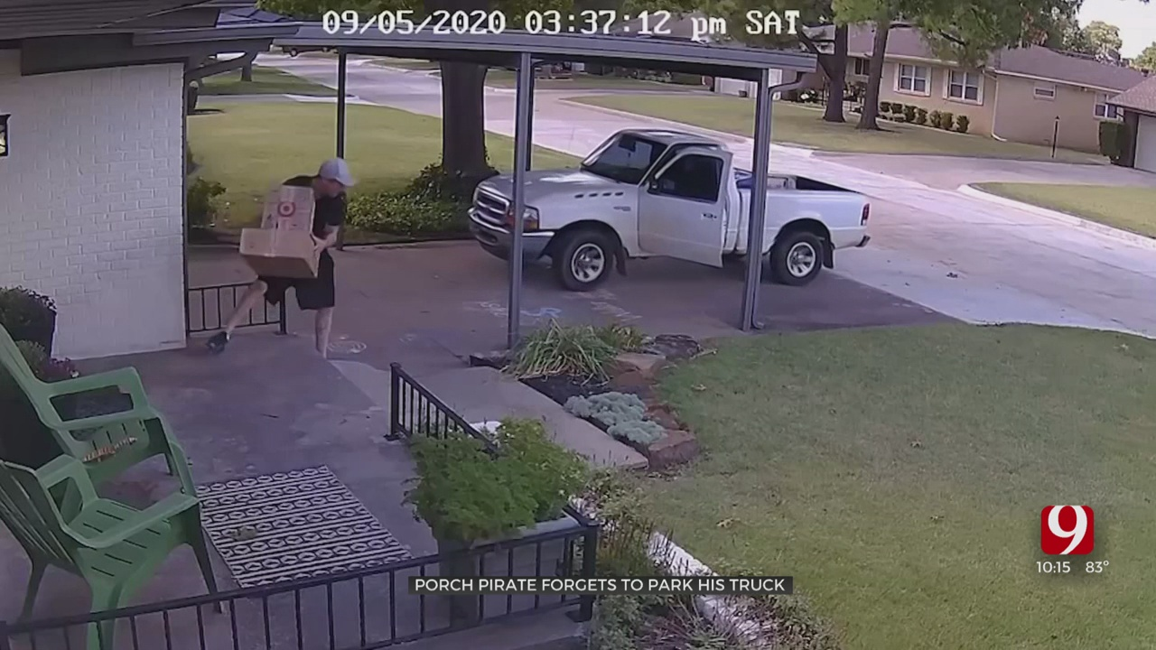 WATCH: OKC Porch Pirate Forgets To Park Truck, Rolls Backwards Mid-Theft