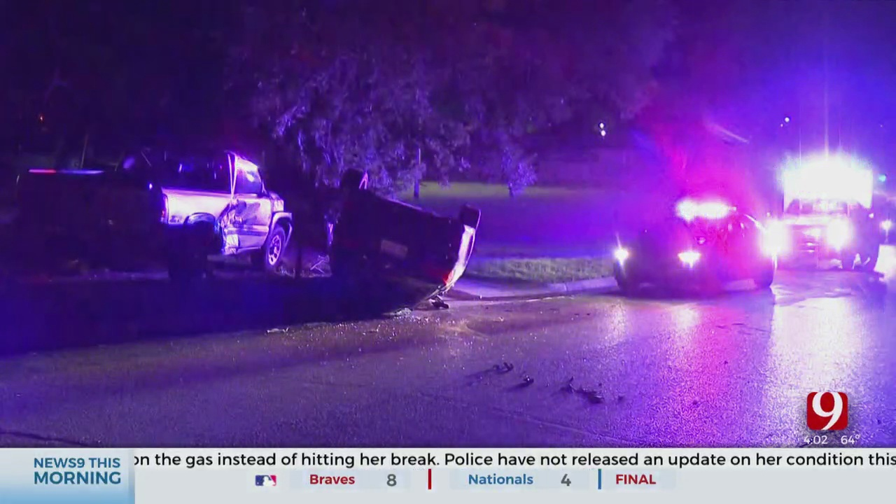 Woman Taken To Hospital After Crashing Into Parked Truck In SW OKC