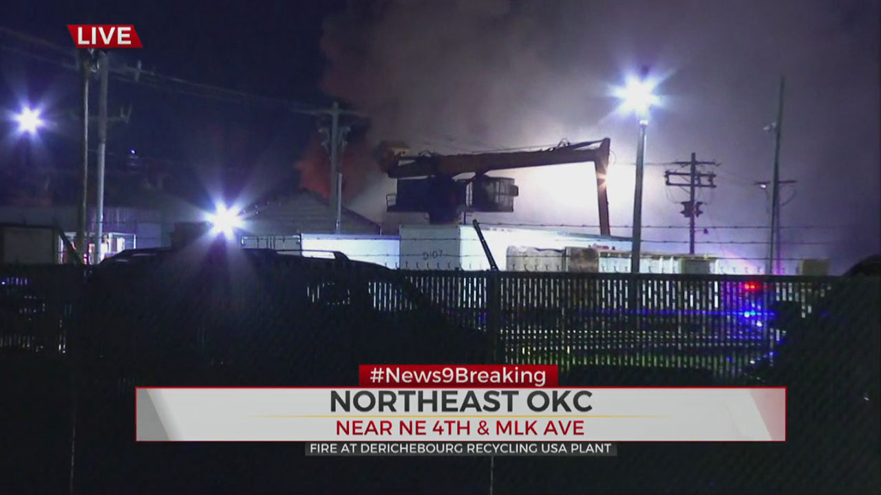 Firefighters Respond To Fire At NE OKC Recycling Plant