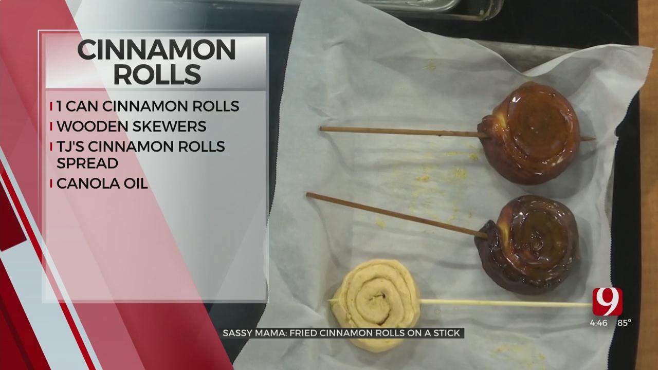 Fried Cinnamon Rolls on a Stick