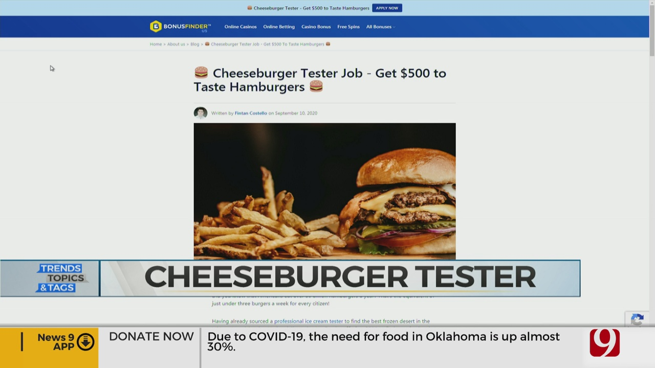 Trends, Topics & Tags: Cheeseburger Tester Job