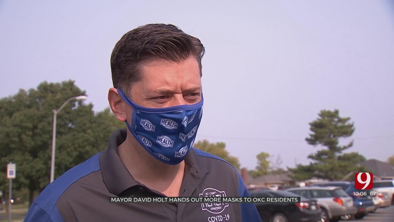 Mayor Holt Hands Out Masks To OKC Residents