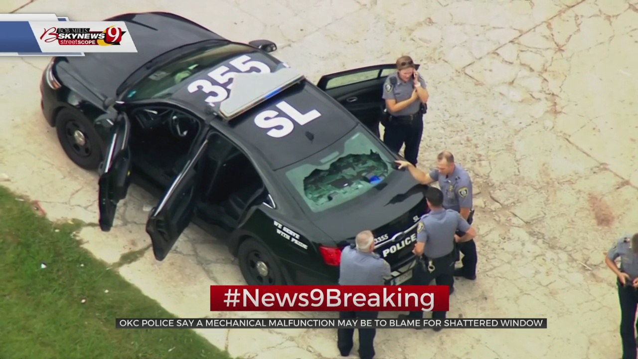 OCPD Investigate After Patrol Cruiser's Rear Windshield Shatters In NW OKC