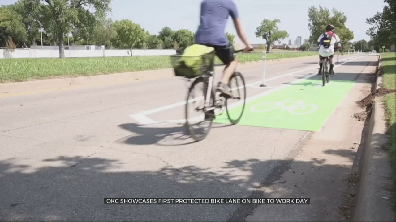 OKC Showcases First Bike Lane On Bike To Work Day
