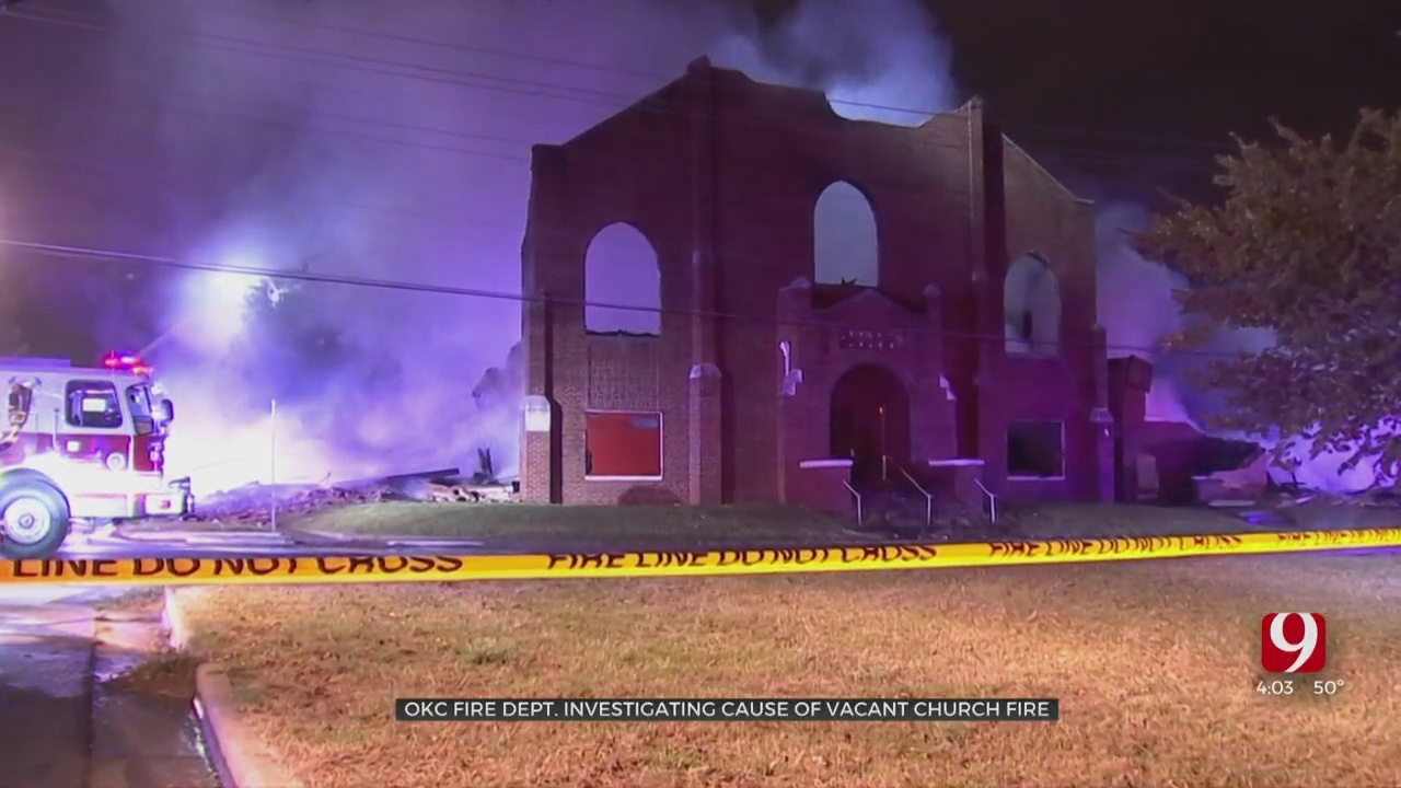 Vacant NE OKC Church Collapses In Overnight Fire