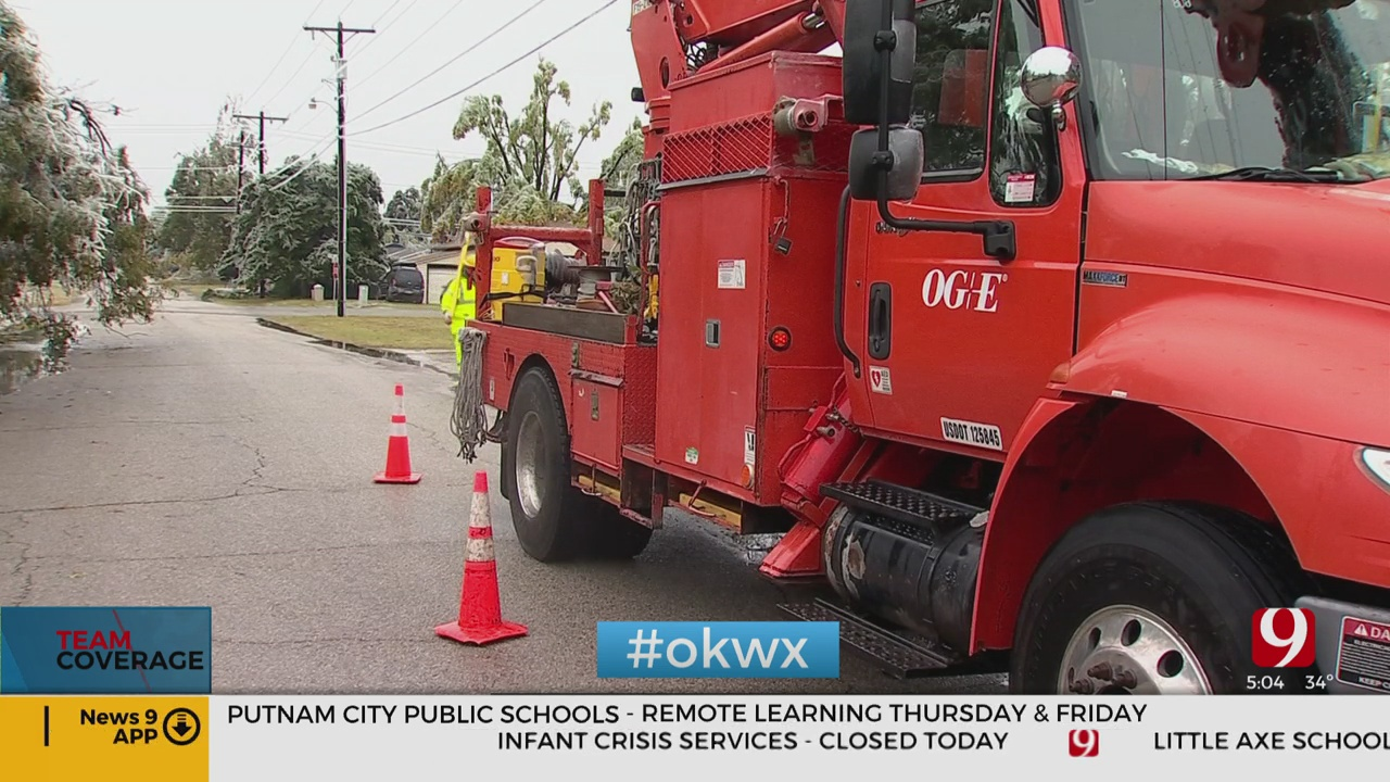 OG&E: Outage Numbers To Increase As Ice Melts