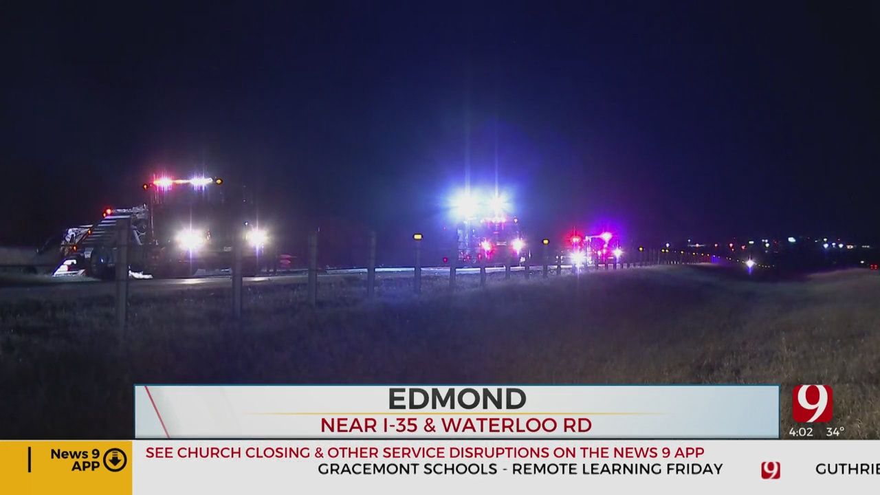 Southbound Lanes Of I-35 In Edmond Back Open After Overnight Crash Involving Semi