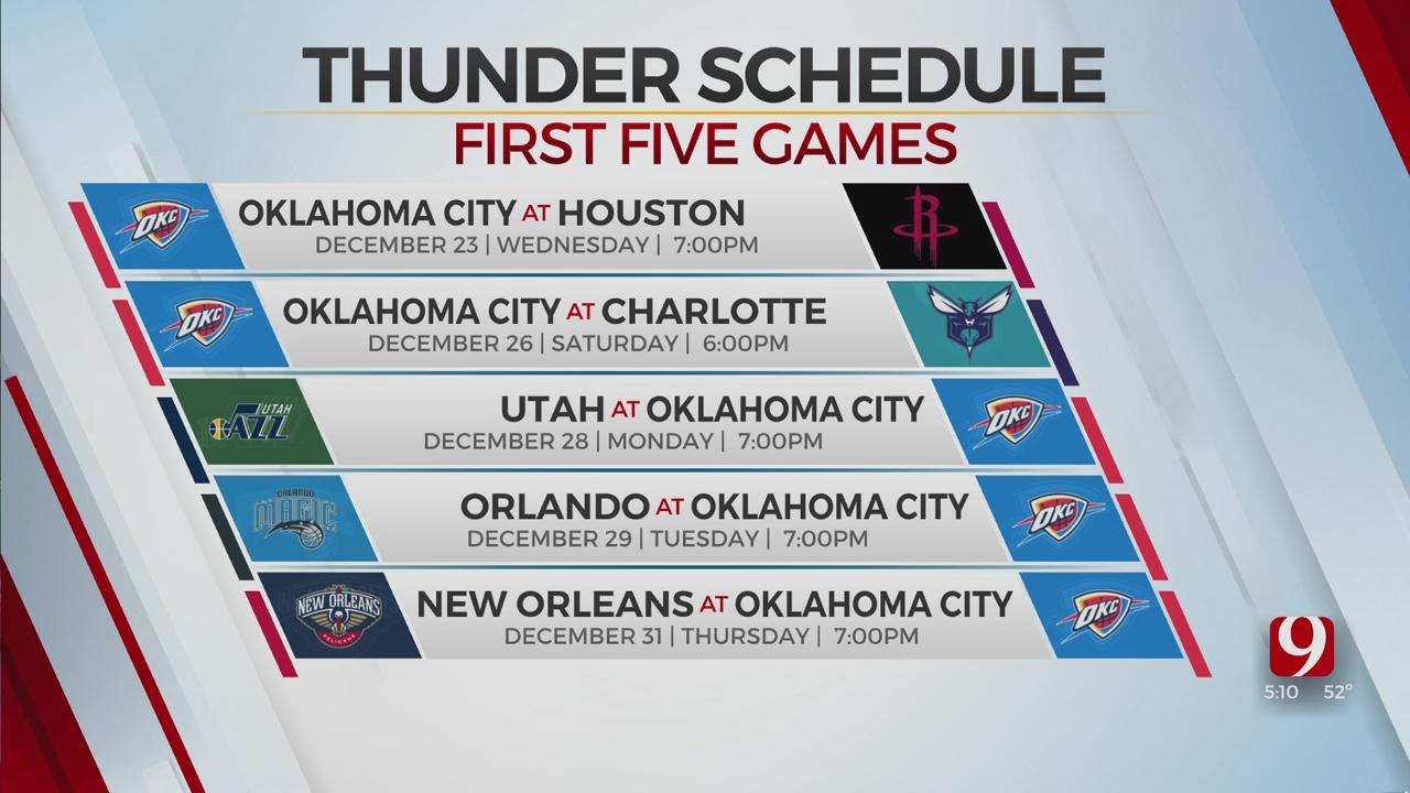 Thunder To Open Season Dec. 23 At Houston