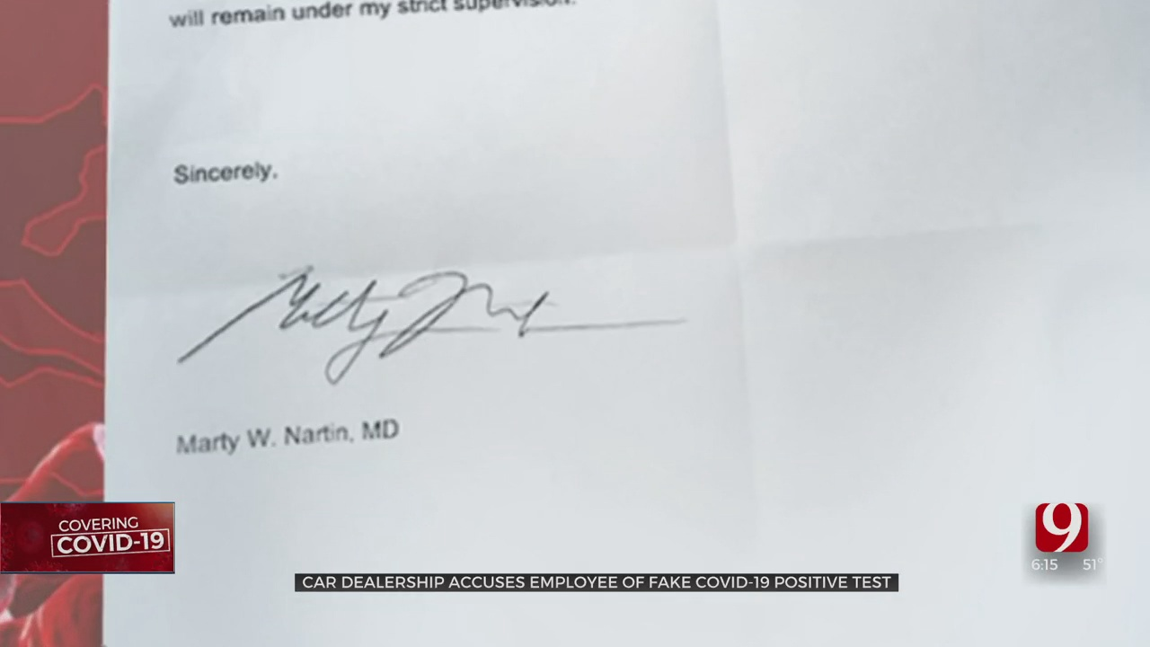 Car Dealer Claims Employee Faked COVID-19 Positive Doctor's Note