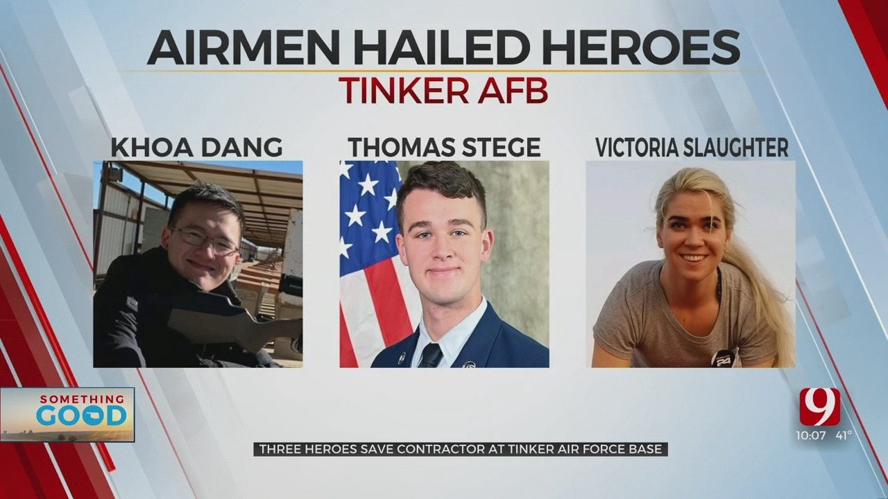 3 Airmen At Tinker AFB Credited As Heroes For Saving Life Of Shocked Contractor