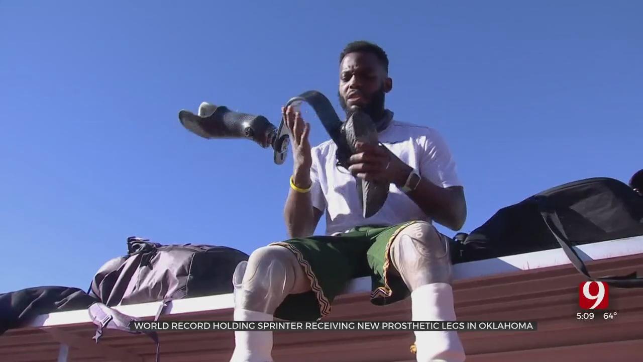 World Record Holding Sprinter Receives New Prosthetic Legs In Oklahoma