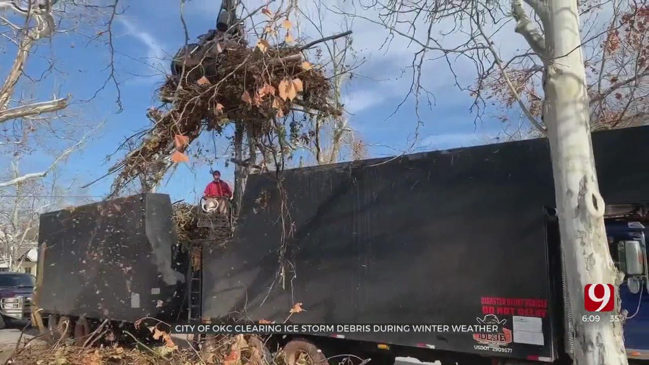 Crews Continue To Pick Up Ice Storm Debris Despite Snowy Conditions