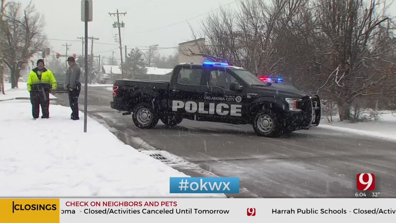 Winter Weather Road Conditions Cause Accidents In NW OKC
