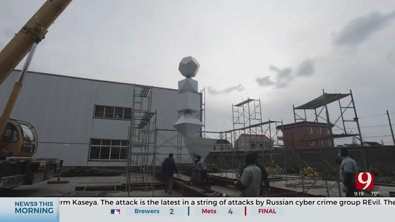 Workers Install Interactive Statue In Front Of Science Museum Oklahoma