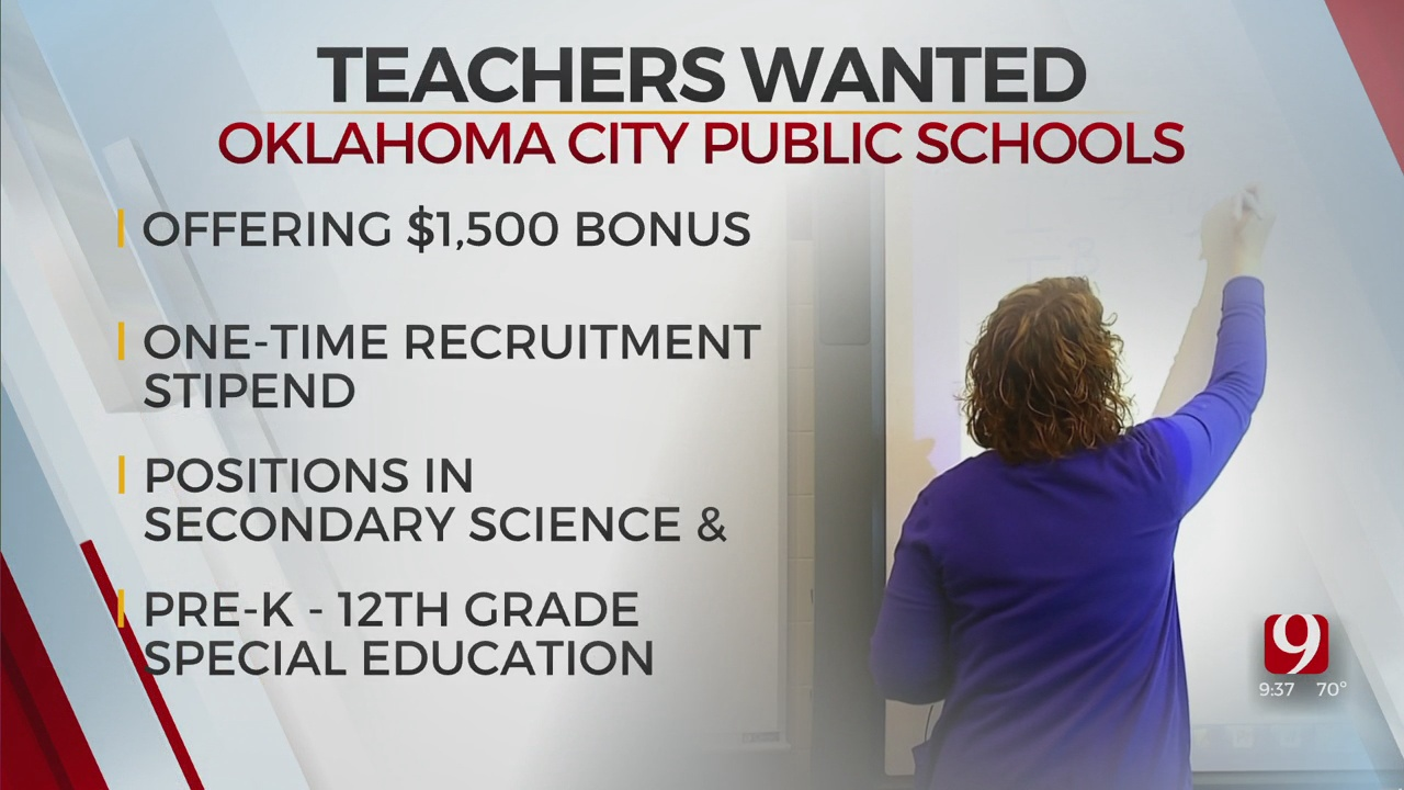 OKCPS Offers $1,500 Bonus In Teacher Recruitment Push