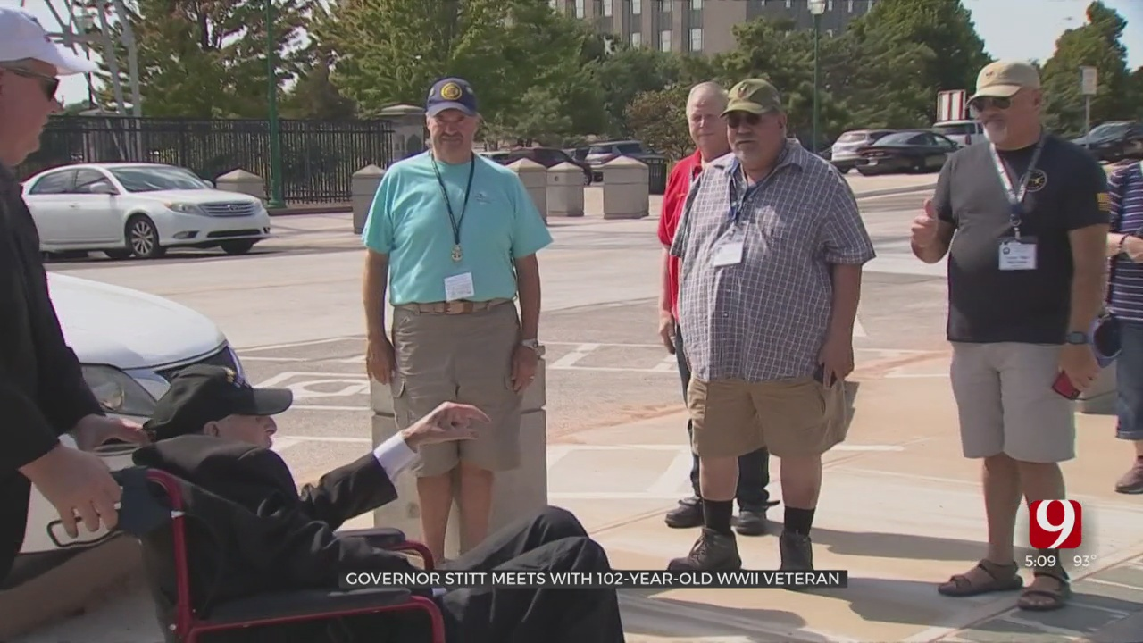 102-Year-Old WWII Veteran Meets Gov. Stitt During His National Fundraising Tour