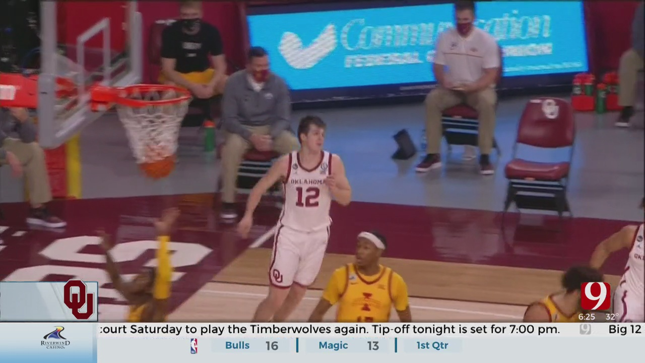 Reaves Returns, No. 9 Oklahoma Holds Off Iowa State 79-72