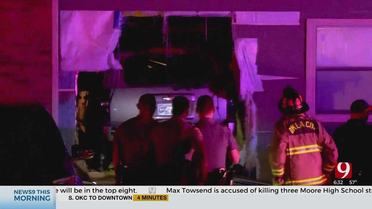 1 Hospitalized After Shooting, Vehicle Crashes Into NW OKC Apartment