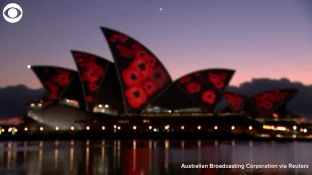 WATCH: The Sydney Opera House Lights Up For Remembrance Day