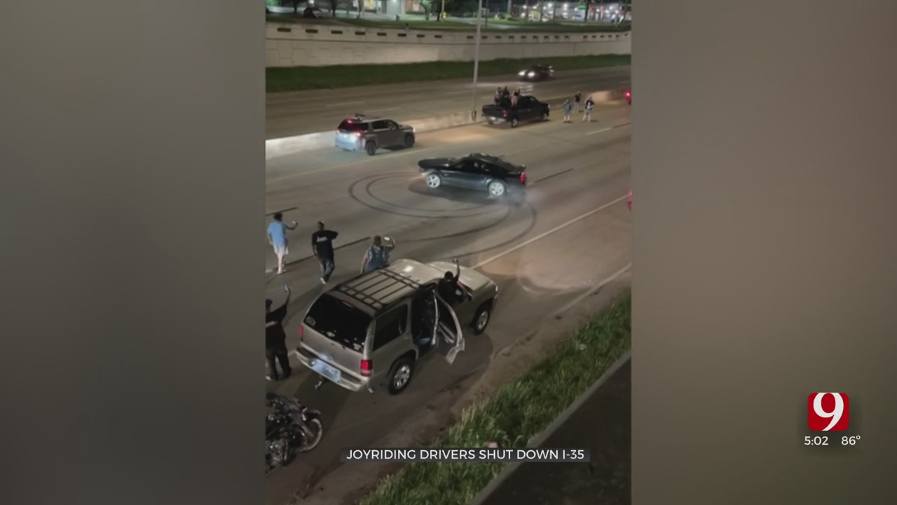 Video: OHP Investigating After Drivers Doing Doughnuts Shut Down I-35