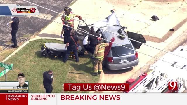Car Runs Into Building In NW OKC