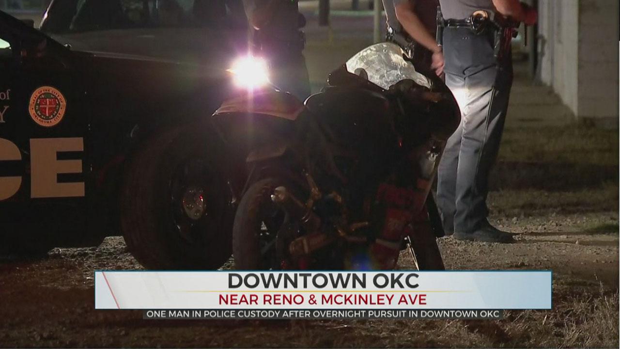 Biker Arrested After Overnight Pursuit, Crash In Downtown OKC