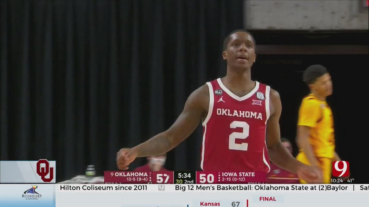 Reaves Shines As No. 9 Oklahoma Tops Iowa State 66-56