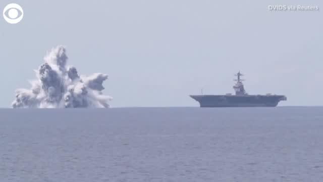 WATCH: US Navy Sets Off Explosion Near An Aircraft Carrier
