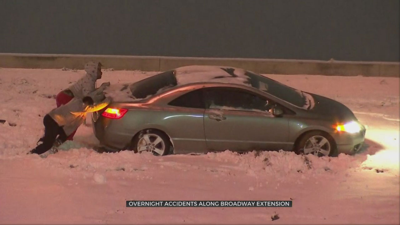 WATCH: Slick Roads Cause String Of Overnight Accident On Broadway Extension