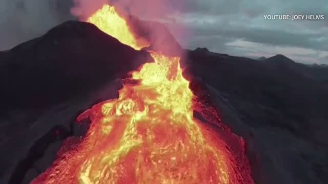 Drone Captures Bird's Eye View To See Iceland's Latest Volcano