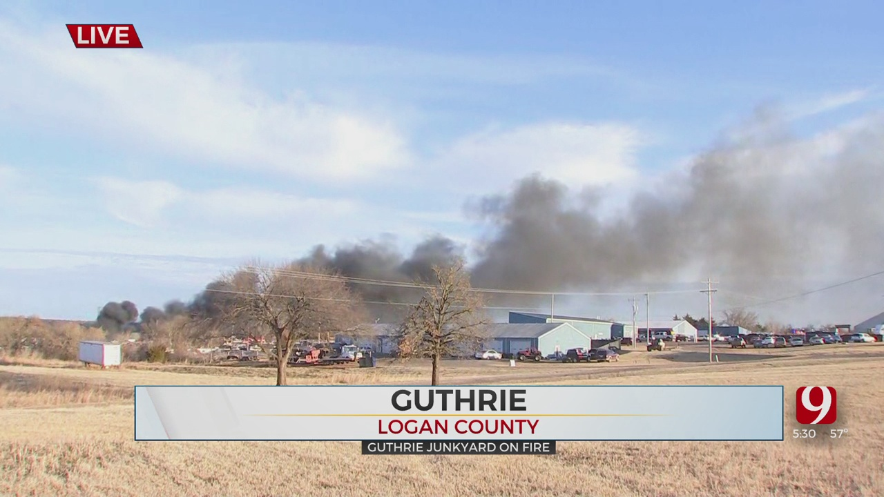 Cars Catch Fire At Guthrie Vehicle Salvage Yard