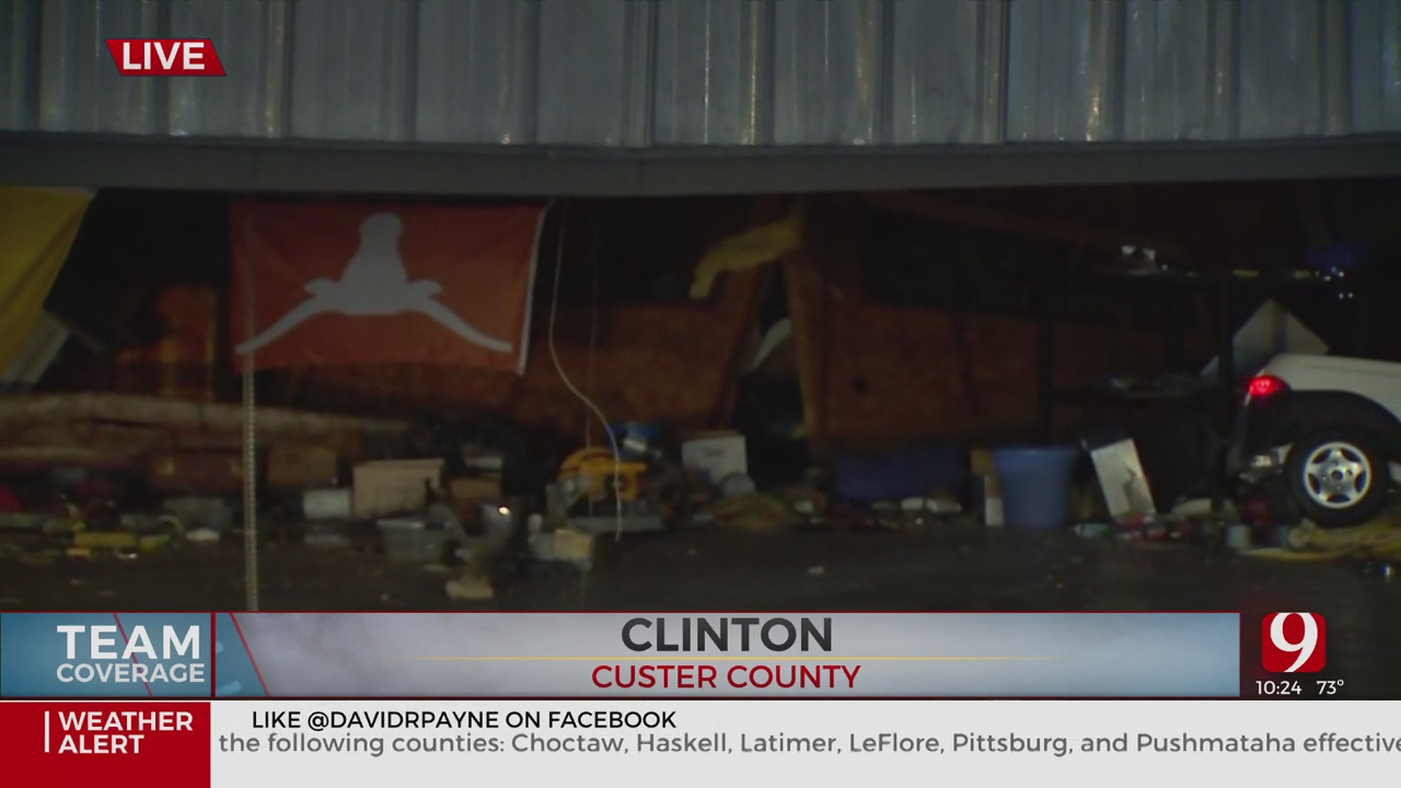 Horns Down Texas Flag Holds Steady After Storm, Damage In Clinton