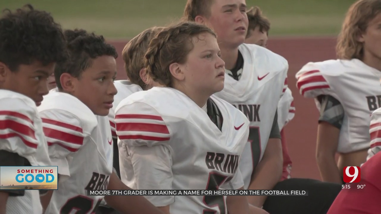 Moore 7th Grader Making A Name For Herself As The Starting Center On The Football Field