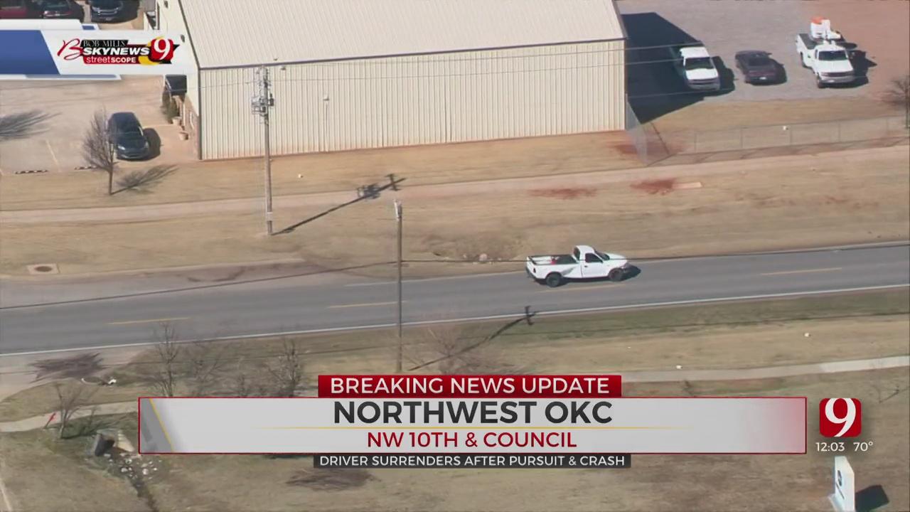 Driver Surrenders After Pursuit And Crash
