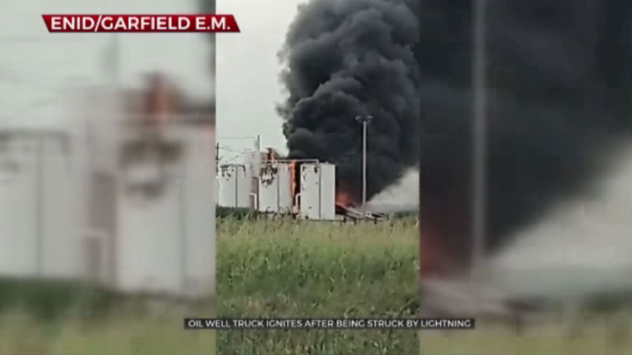 Oil Well Truck Struck By Lightning, Catches Fire NW Of Enid