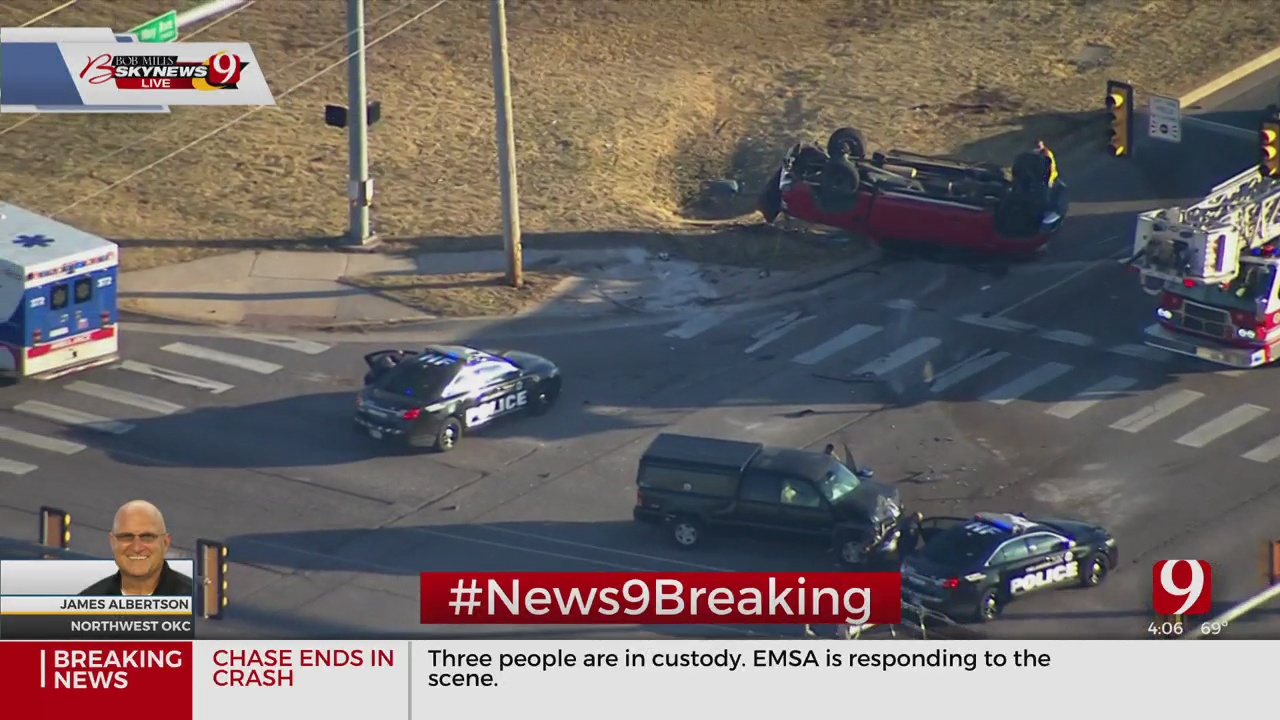 3 Suspects In Custody Following Police Chase, Crash In NW OKC