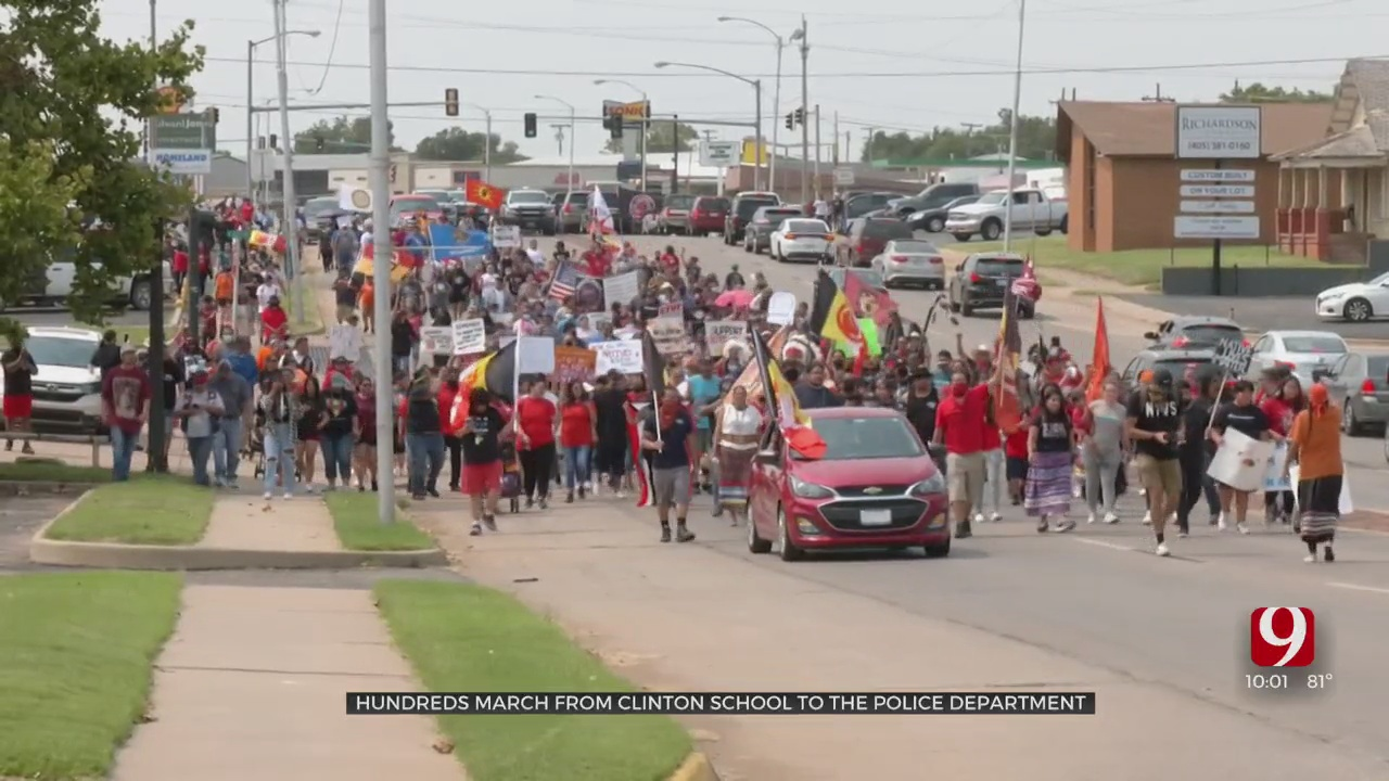 Hundreds March Streets Of Clinton Demanding Justice For Native Americans