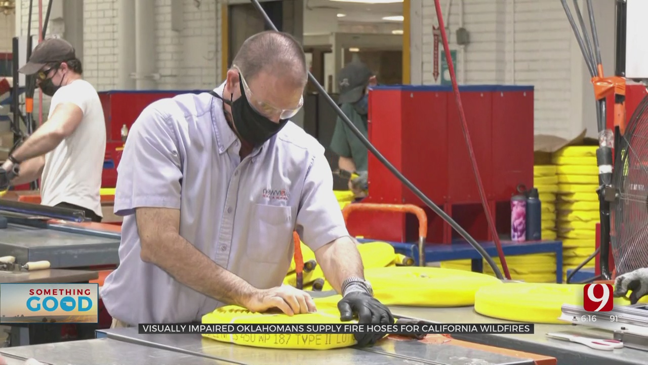 Oklahomans With Vision Impairment Manufacturing Fire Hoses For California Wildfires