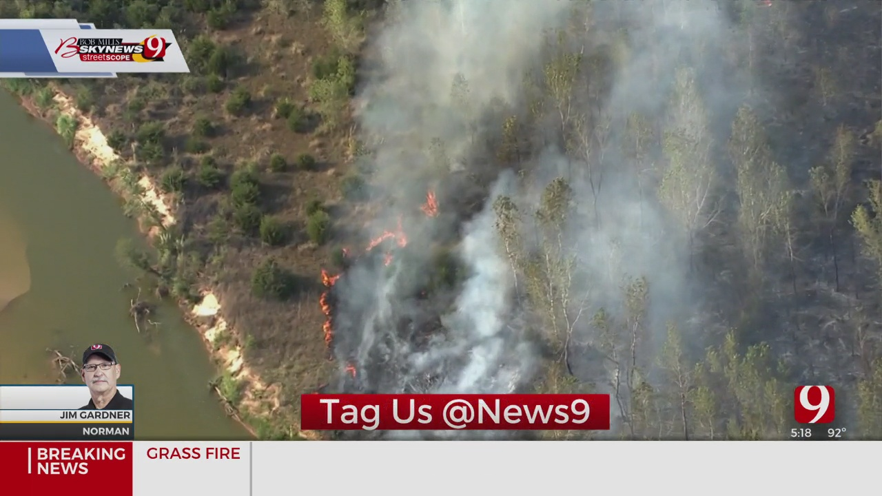 Firefighters Battling Large Grass Fire In Norman