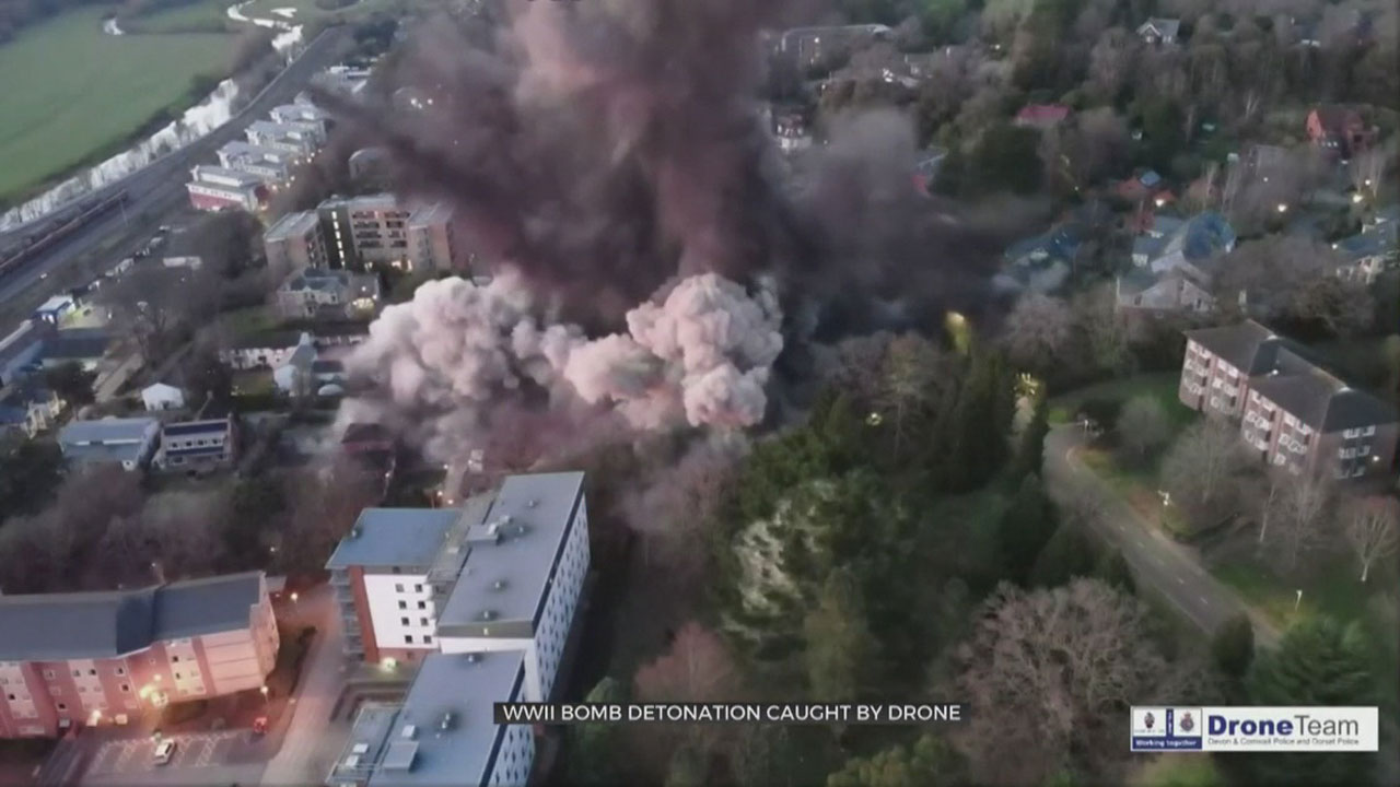 Drone Captures WWII Bomb Detonation In England