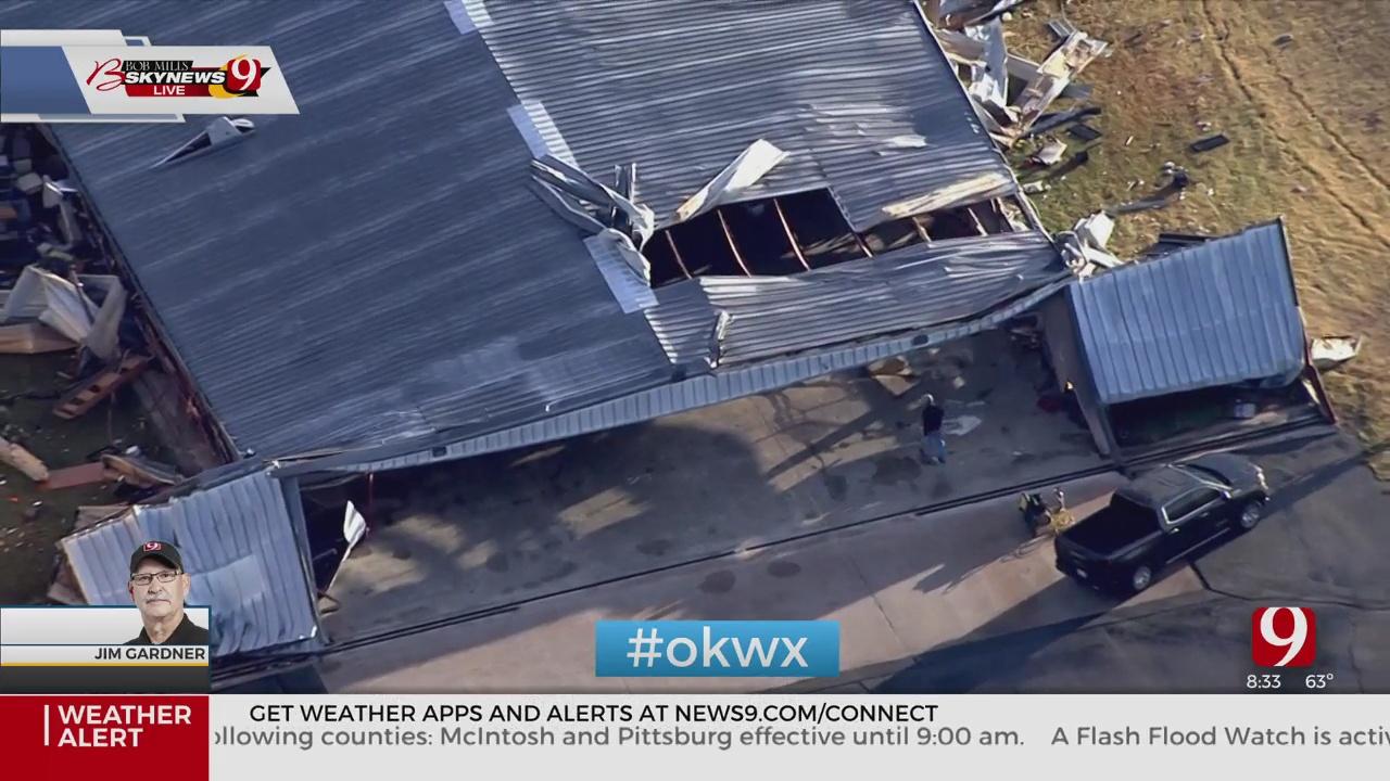 Overhead Shots Of Hanger Damage In Clinton